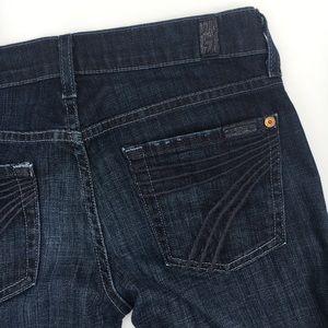 "7FAM denim dojo jeans stretch dark 25 inseam 31"""
